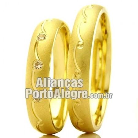Aliança de ouro casamento e noivado barata Rs