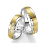 Alianças de ouro 18k e prata Rs