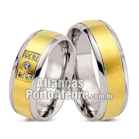 Aliança  em ouro e prata Rs